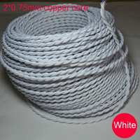 Free shipping Edison lamp wire  white wire braided plug wire  +10m / Pcs  Cables Household wiring+copper wire