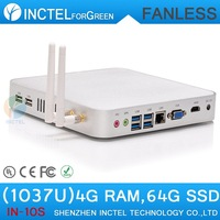 Media Computer with Intel Hm76 Wireless Display Fanless Alluminum Chassis Four Native Usb 3.0 Hdmi C1037u 1.8ghz 4g Ram 64g Ssd