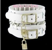 Male bracelet personalized hand ring multi-layer white female lockbutton vintage ox leather punk