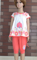 New 2014 Girls clothing set flower girl t shirt cotton and pants Children outerwear Size 4-14 0413K4 Free Shipping