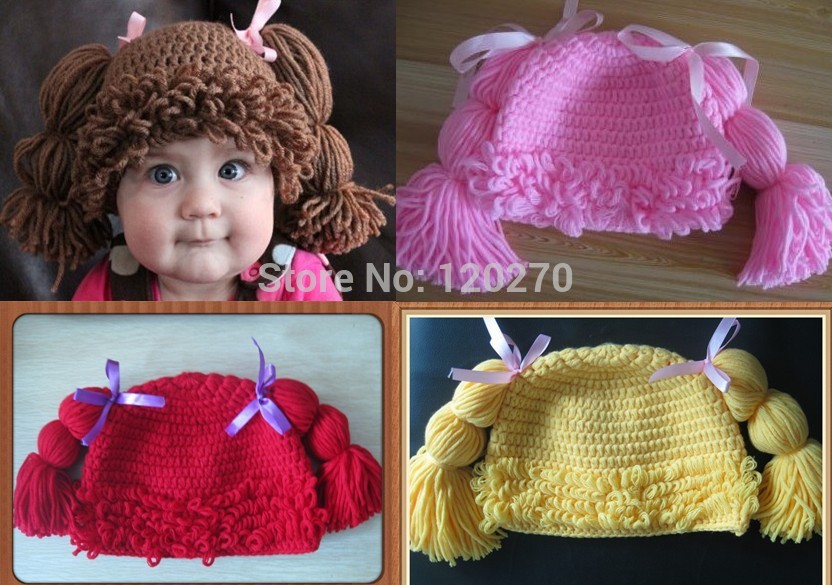 Free Shipping 100% Handmade Crochet Baby Girls Wigs Cabbage Patch Hat Infant Toddler Newborn Children's Beanie Photographic prop(China (Mainland))