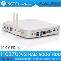 Hot selling intel celeron C1037U Mini pc display fanless alluminum chassis four native usb3.0 hdmi c1037u 1.8ghz 8g ram 320g hdd