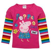 Brand Nova Girl's &boy's T-shirt Cute Pink Peppa Pig Clothing Rainbow Cuff 100% Cotton Kids Cartoon Blouse Tunic Wears nz70
