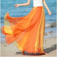 New arrival 2014 Women Spring Summer Patchwork Fashion Bohemian Beach Skirts Ruffles Chiffon A-Line Long Skirts womens