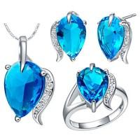 Free Shipping Silver jewelry sets crystal jewelry wedding jewelry Women Set Birthday gift Jewelry wholesale T474