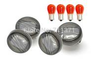 4 PCS Smoke Turn Signal Lens Lenses Indicator Blinkers For 2005-2012 Suzuki Boulevard M50/C50 VL800 Volusia