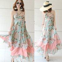 2014 Sexy Bohemian Maxi Long Chiffon Gisele Beach Dress Women ladies Fashion print Floral summer charming vestido flower dress