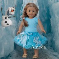"18"" American Girl Doll Elsa Rhinestone Tee Blue Pettiskirt Clothes Dress Outfit"
