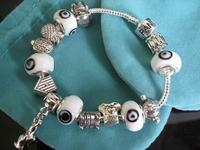 "PB049 / Devil's Eye 925 Silver bracelet fashion ""I LOVE""Chamilia beads bracelets for women silver plated brand jewelry"