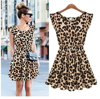 013 Sexy Women Ruffles Leopard Print Casual Party Tunic One Piece Novelty Skater Swing Mini Dress Sundress S Free Shipping