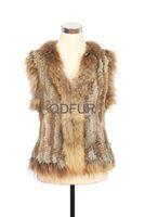 2014 Autumn Winter Female Genuine Real Knitted Rabbit Fur Vest Raccoon Fur Hem Women Fur Waistcoat Lady Outerwear QD30297