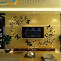 Classical black flower vine for Parlor plant wall decals ZooYoo051S decorative home decoration removable DIY pvc wall stickers