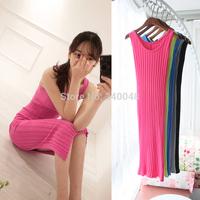 Placketing slim hip sleeveless cotton large rib knitted tank dress  maxi dress