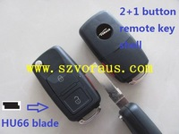 V w 2+1 button remote shell with the panic button  & car remote key shell & car key blank