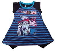 Retails children t shirts girls clothing brand Baby Girls Monster High Sleeveless T-shirts cartoon t-shirts for girls 3-8years
