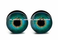 Wholesale 60pcs deep eyeball logo ear plug acrylic screw fit ear plug flesh tunnel body piercing mix size 6mm-25mm A0178