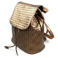 2014 New Vintage Fashion Casual Woven Genuine Leather Cowhide Women Shoulder Bag Bags Backpack Backpacks For Women B305