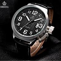 2014 new arrival hardlex stainless steel analog fashion watch orkina leather date mens wrist men quartz brand dress watches
