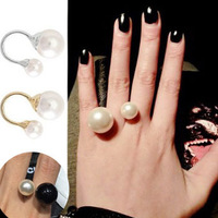 2014 hot sale Fashion Gold Silver Alloy Simulated Pearl Bead Designer Finger Rings for women bagues ensemble bijoux anillos
