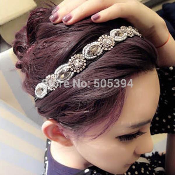 Free shipping Women Fancy Beads Hair Band Trendy Retro Crystal Rhinestone Headband#5572(China (Mainland))