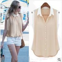 New Arrive Women 2014 Summer Fashion Sleeveless Chiffon Tops Shirts V-Neck Patchwork Solid Slim Tops Ladies Blouses Shirts