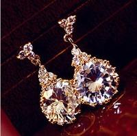 B308 Promotion Trendy Semi-precious New 2014 Antianaphylaxis Bride Wedding Shiny Earrings Big Stones Women Jewelry