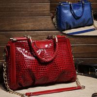 VEEVAN  2014 hot sale elegant genuine leather women messenger bag  bright skin Women bag WFCHB01306