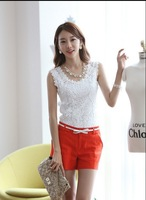 2014 new Summer blouse Fashion Top Lace Casual Sleeveless Plus Size Shirts For Women Brand Quality Black White Halter Top