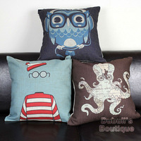 Cute Owl & Octopus & Geek, Set of 3pcs Decorative Cotton Linen Cushion Cover Throw Cushion Cover Sofa Pillow Case Home Decor