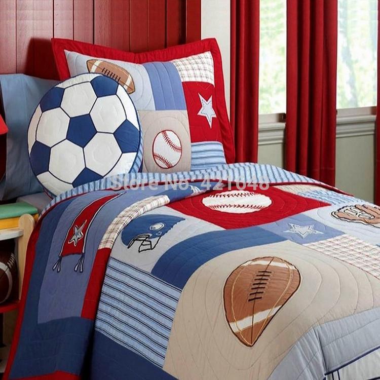 Free shipping rugby football/soccer kids bedding set baseball boys bedding set handmade applique patchwork quilt bedspread set(China (Mainland))