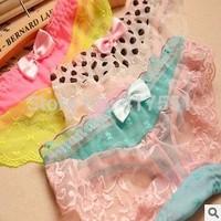 6 PCS/lot,women's sexy lace print panties,Net yarn sexy briefs,girl's panties,underwear women free shipping
