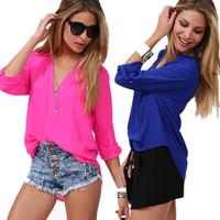 2014 New Fashion Women Chiffon Shirt V Neck Sexy Career Tops Blouse 3/4 Sleeves
