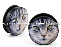Wholesale 60pcs face of cat ear plug acrylic screw fit ear plug flesh tunnel body piercing mix size 6mm-25mm A0196