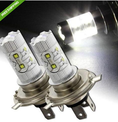 livraison gratuite 2x 50w blanc brillant h4 cree led brouillard diurne drl phare ampoule de lumière
