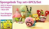 6PCS/Spongebob Squarepants Plush Doll Toy Set Sponge Bob Watch Patrick star/Crab/Plankton/Octopus/Snail Gift Doll for Kids Girls