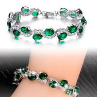 Classic style Luxurious Zircon Women Bracelet in White Gold Plated Bridal Wedding green stone Crystal   Bracelets 926