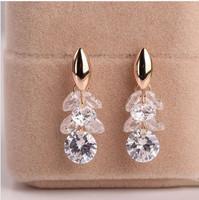 B316 Hot Sale Limited TrendyTransparent Luxury Tassel Zircon Beautiful Gorgeous Earrings for Women Jewelry 2014