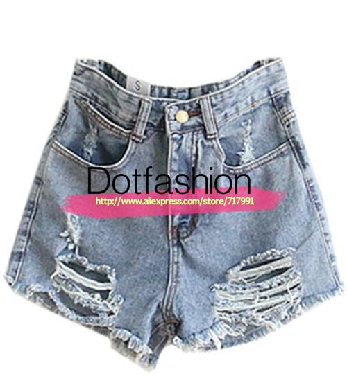 New Stylish Harem Blue High Waist Ripped Tassel Denim Shorts For Women Blue Ripped Fringe Denim Pant(China (Mainland))