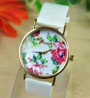50pcs/lot Geneva Fashion Rose Flower PU Leather Wrist Watch for Women Lady Best Dress Watch Free Shipping