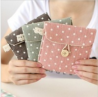 Fresh polka dot paper towel bag vintage fashion cosmetic storage bag sanitary napkin storage bag money tissue key bags case
