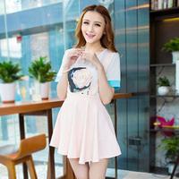 Summer dress  personalized print color block chiffon female short-sleeve top