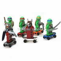 Wholesale Christmas gift Lowest Price 6 pcs/set Ninja Turtle Ninja Toy Building Blocks High Quality Figures Minifigure Mini Toys