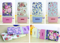 Brand Charms Pastoral Flower Floral Rose Lace Hard Back Phone Cases Cover For Apple iphone 4 4G 4S 5 5G 5S Skin Defender 258