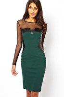 Long Sleeve Casual Green Midi Dress with PU and Mesh Inserts LC6280 Women Winter Dresses Vestidos Femininos bandage dress 2015