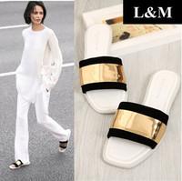 Spring 2014 New ZA Tyrant gold Decoration Mitts Slippers Sandals & flip flops Platform Summer Women flats Designer women sandals