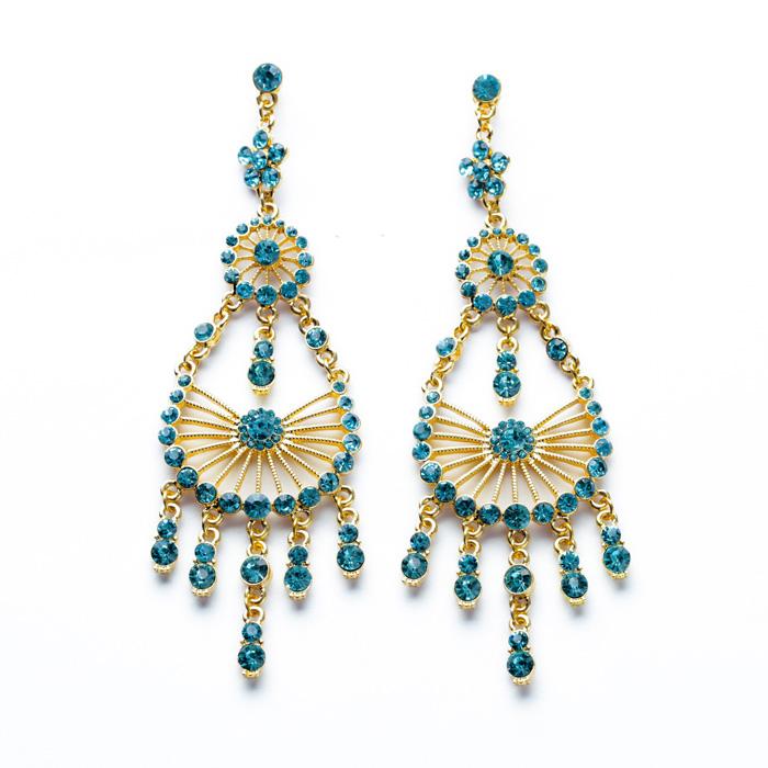 2014 Fashion Qingdao Factory Wholesale Transparent Blue Stone Long Imitated 18k Gold Women Earrings Jewelry(China (Mainland))