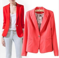 2014 New Arrival Women Blazers autumn Fashion Vogue All Match Slim Candy Colored Long-sleeved Pinstripe Lining Casacos Femininos