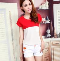 2014 women's pocket t-shirt chiffon top female short-sleeve summer plus size patchwork chiffon shirt