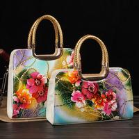 8Style High Quality 2014 Women's Handbag Flower Print Patent Leather Bag Oil Painting Shaping Vintage Messenger Bag Bolsas Bolso