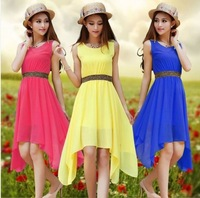 2014 summer plus size clothing spring and summer solid color chiffon one-piece dress